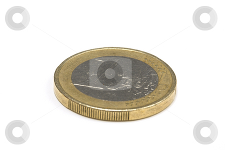 One euro coin stock photo, One euro coin - isolated on white by Ingvar Bjork