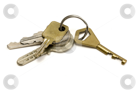 Set of Keys stock photo, Set of Keys isolated on white background by Ingvar Bjork