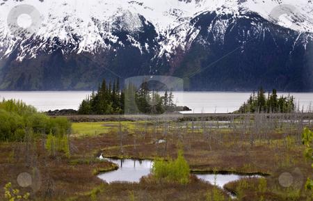 Snow Mountain Range Two Lakes Ocean Anchorage Alaska stock photo, Snow Mountain Range, Two Lakes, Ocean, Seward Highway, Anchorage, Alaska by William Perry