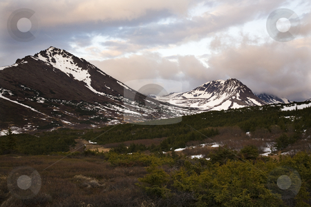 Flattop Mountain at Sunset Anchorage Alaska stock photo, Flattop Mountain Anchorage Alaska at Sunset, snow mountains by William Perry