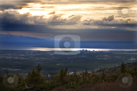 Anchorage Alaska at Sunset from Flattop Mountain stock photo, Anchorage Alaska at Sunset from top of Flattop Mountain by William Perry