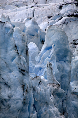 Portage Glacier Alaska Close Up stock photo, Portage Glacier Close Up Anchorage Alaska.  The blue is from the glacier ice. by William Perry