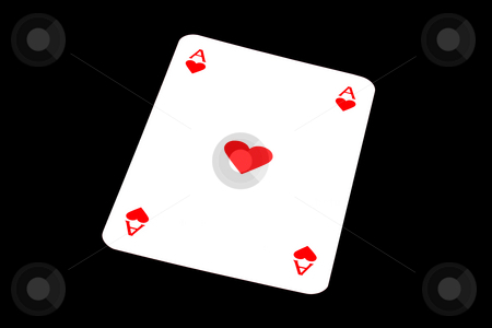 Ace of hearts stock photo, Ace of hearts isolated on black by Ingvar Bjork