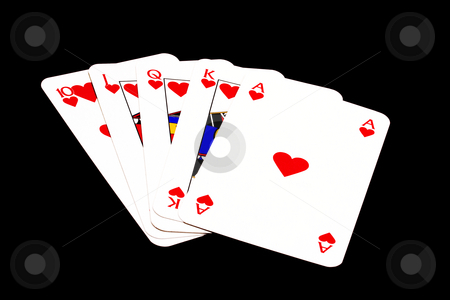 Royal Flush stock photo, Royal Flush isolated on black background by Ingvar Bjork