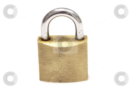 Padlock stock photo, Padlock on white background by Ingvar Bjork