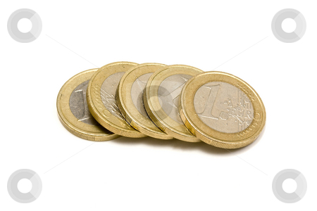 Euro coins stock photo, Euro coins - on white background by Ingvar Bjork