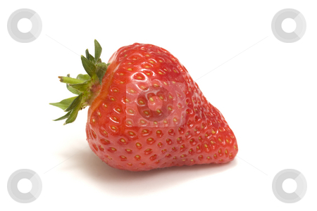 Strawberry stock photo, One strawberry isolated on white by Ingvar Bjork