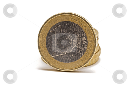 Euro coins stock photo, Euro coins isolated on white background by Ingvar Bjork