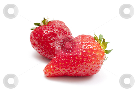 Two strawberries stock photo, Two strawberries isolated on white background by Ingvar Bjork