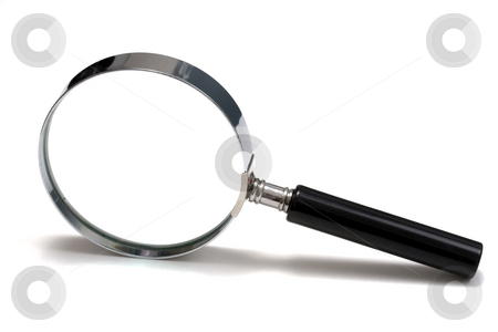 Magnifying glass stock photo, Magnifying glass on white background by Ingvar Bjork