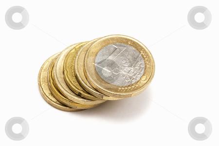 Euro coins stock photo, Euro coins - on white background by Ingvar Bjork