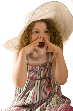Cute little girl in the studio stock photo, A cute little girl with curly hair, wearing a wide-brimmed hat and shouting. Studio shot isolated on white. by Nicolaas Traut