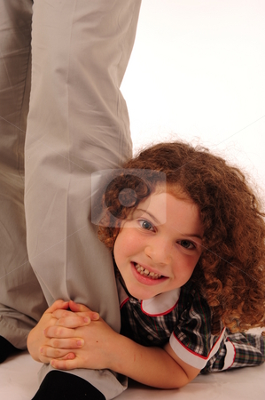Adorable little girl stock photo, An adorable little girl with very curly hair. by Nicolaas Traut