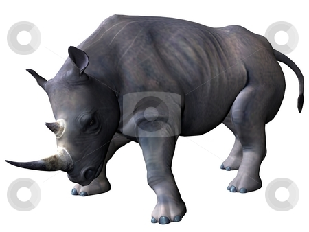 Charging rhinoceros stock photo, 3D rendered model of african rhinoceros on white background isolated by Patrik Ruzic
