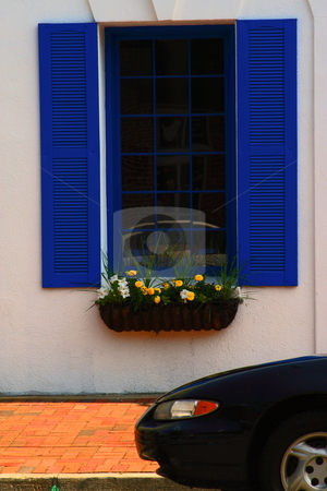 Blue Window stock photo, Street photography cool colors found in a small city street by Jack Schiffer