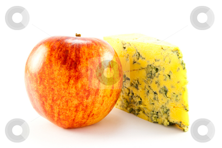 Red Apple and Blue Cheese stock photo, Single red apple and slice of blue cheese with clipping path on a white background by Keith Wilson