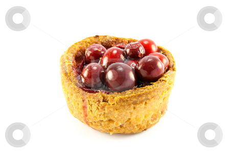 Pork Pie with Cranberries stock photo, Single pork pie with cranberries on the top with clipping path on a white background by Keith Wilson