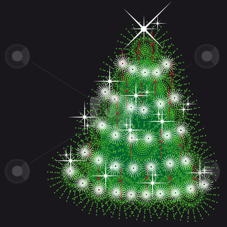 Xmas tree stock vector clipart, Xmas tree with red ornaments and snowflakes and stars by Karin Claus