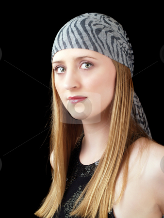 Young caucasian woma in head scarf with green eyes stock photo, Young woman portrait with head scarf green eyes by Jeff Cleveland