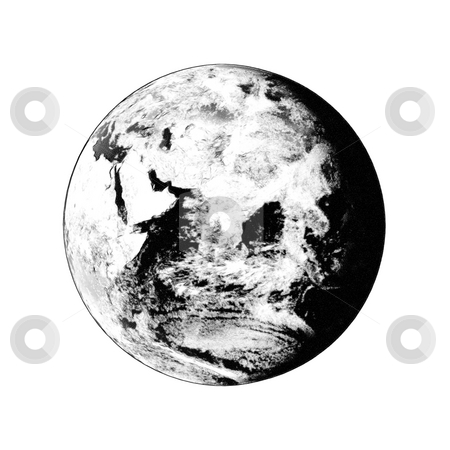 Earth Globe stock photo, Earth globe showing on white background clouds visible.  Some components of this image are provided courtesy of NASA, and have been found at visibleearth.nasa.gov by Henrik Lehnerer