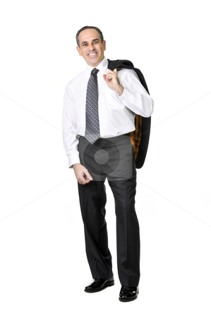 Happy business man stock photo, Smiling business man in suit isolated on white background by Elena Elisseeva
