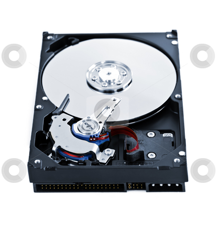 Hard drive insides stock photo, Isolated hard disk drive case showing internal components by Elena Elisseeva