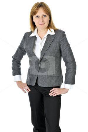 Businesswoman on white background stock photo, Happy smiling businesswoman isolated on white background by Elena Elisseeva
