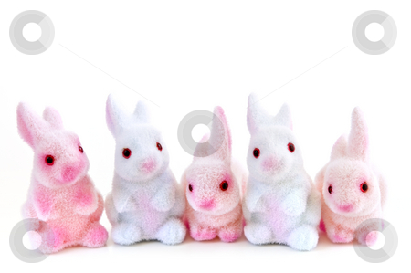 Easter bunny toys stock photo, Cute Easter bunny toys isolated on white background by Elena Elisseeva