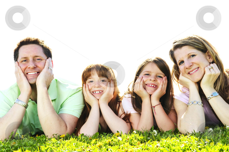 Happy family stock photo, Portrait of happy family of four laying resting head on hands by Elena Elisseeva