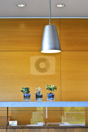 Modern interior stock photo, Modern interior with light fixtures and wood panels by Elena Elisseeva