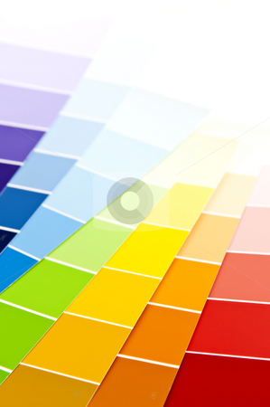 Color card paint samples stock photo, Paint  sample cards of many shades and colors by Elena Elisseeva