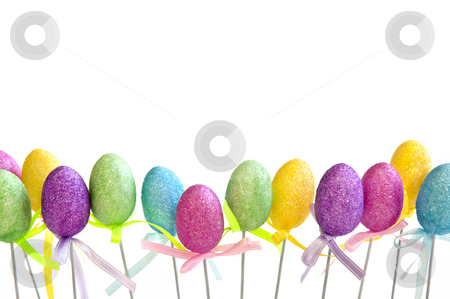 Easter egg toys stock photo, Cute Easter toy eggs isolated on white background by Elena Elisseeva