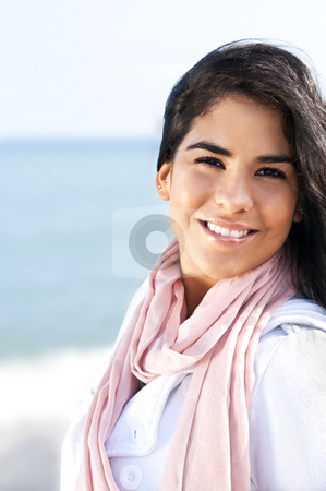 Young native american woman stock photo, Portrait of beautiful smiling native american girl by Elena Elisseeva