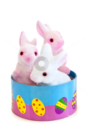 Easter bunny toys stock photo, Cute Easter bunny toys in basket isolated on white background by Elena Elisseeva