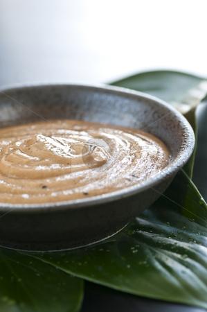 Green tea scrub stock photo, Natural body care green tea scrub closeup by Elena Elisseeva
