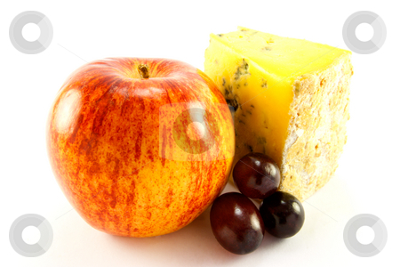 Red Apple, Blue Cheese and Grapes stock photo, Single red apple with slice of blue cheese and grapes with clipping path on a white background by Keith Wilson