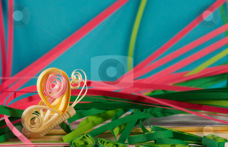 Quilling stock photo, Souvenir from the color paper, made by the hands. by Sergey Goruppa