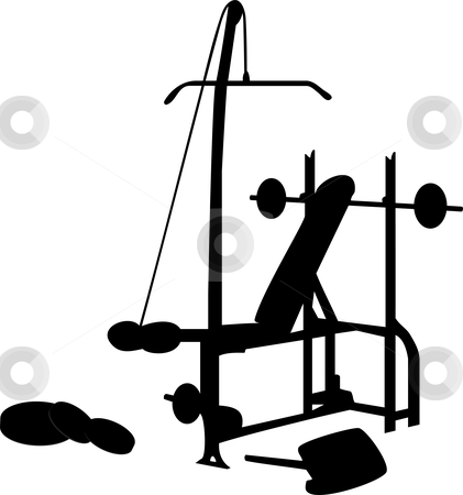 Gym stock vector clipart, Gym Equipment Silhouette Isolated on White by gubh83
