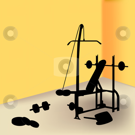 Gym stock vector clipart, Gym equipment in yellow room by gubh83