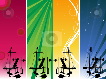 Gym Banners stock vector clipart, 4 banners to be used for your gym announce by AUGUSTO CABRAL