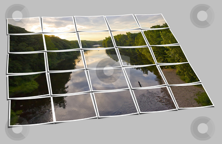 Sunset River Collage stock photo, A composite made of multiple photos of the Farmington River around dusk.  A patient fly fisherman is seen enjoying his hobby. by Todd Arena
