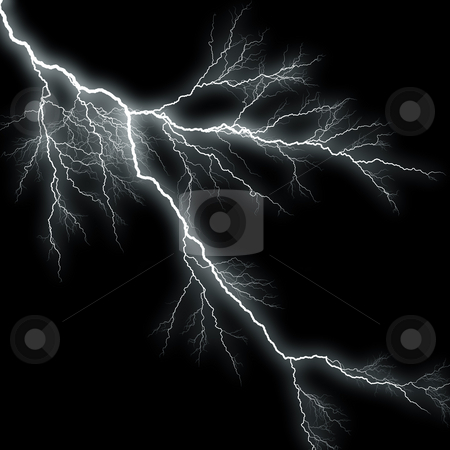 Lightning Background stock photo, Bolts of lightning isolated over a black background. by Todd Arena