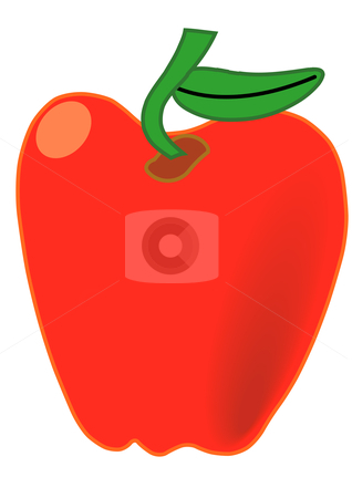 Apple stock vector clipart, Vector Illustration of a Red Apple with a green stem by Robert Gebbie