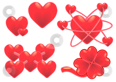 Atomic Hearts stock vector clipart, Vector Illustration of vibrant red hearts in various situations, atomic, clover and molecular. by Robert Gebbie