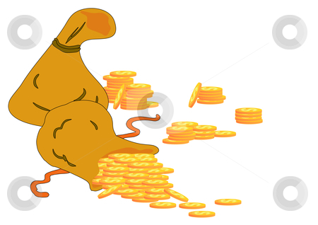 Bags Full of U.S. Gold Coins stock vector clipart, Vector Illustration of two money bags with gold dollar coins spilling out of one. by Robert Gebbie