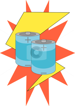 Battery Power stock vector clipart, Vector Illustration of two battery cells against a lightning bolt and starburst. by Robert Gebbie