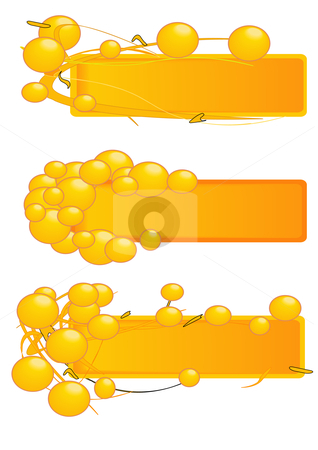 Bead Banner Frames Gold stock vector clipart, Vector Illustration of blank banners with bubbles in gold. by Robert Gebbie