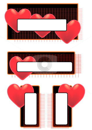 Big Heart Tags stock vector clipart, Vector Illustration of red hearts on tags with blank space for text. by Robert Gebbie