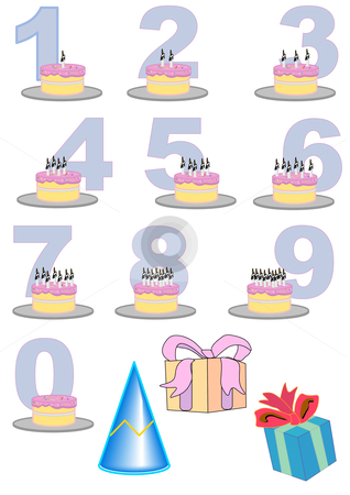 Birthday Number Cake Set stock vector clipart, Hand drawn vector illustration of birthday cakes with candles representing the numbers displayed. by Robert Gebbie