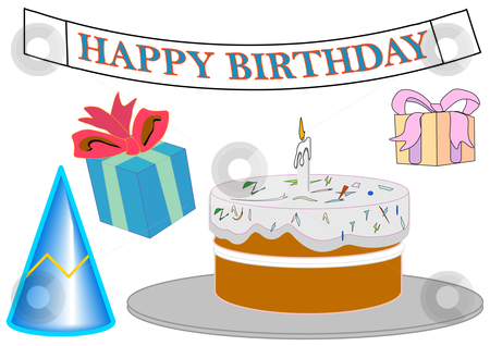 Birthday Objects and Banner stock vector clipart, Birthday Objects and Banner by Robert Gebbie